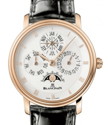 Blancpain Villeret Perpetual Calendar 18ct Rose Gold Automatic Silver Dial Strap Watch
