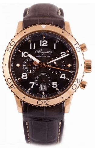 Breguet 18k Rose Gold Type Xxi Flyback Chronograph Anthracite Dial Strap