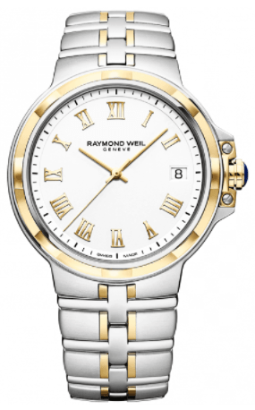 Raymond Weil Parsifal Steel & Yellow Gold White Dial Bracelet Watch