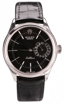 Rolex Cellini Date 18k White Gold Watches with Black Dial Strap