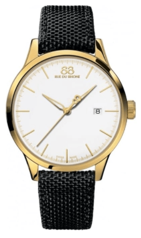 Rue Du Rhone Men's Rive Yellow White Gold Watches with Pvd White Dial Nato Strap