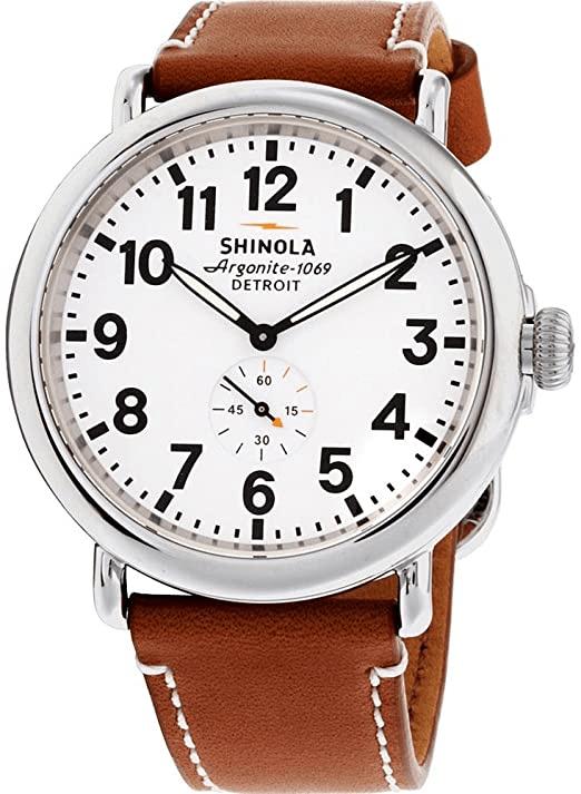 "SHINOLA ""The Runwell' Leather Strap Watch"