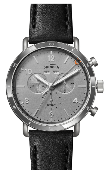The Canfield Sport Chronograph Leather Strap White Gold Watch