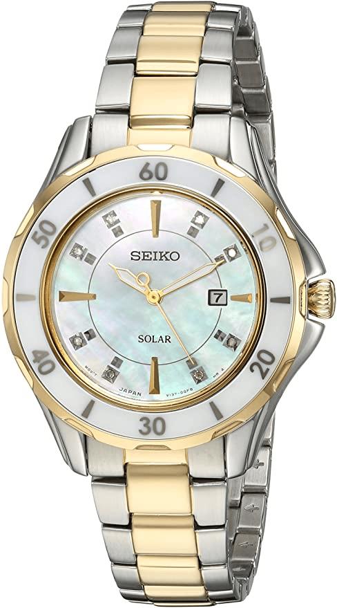 Seiko Women's Diamond & Ceramic Two Tone Solar Watch – SUT340